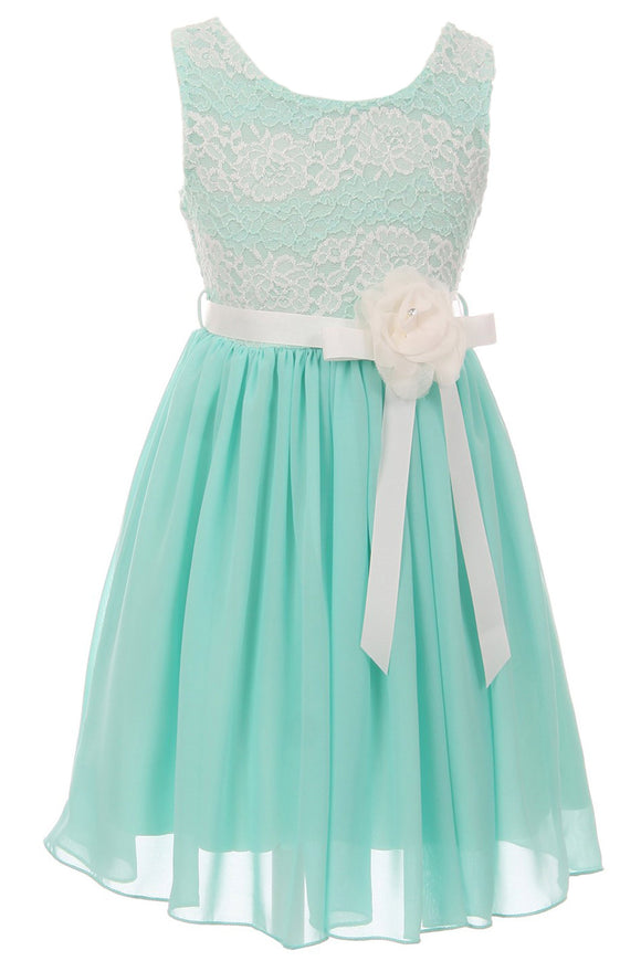 Big Girl Sleeveless Lace Chiffon Graduation Wedding Flower Girl Dress USA Mint 8 JKS 2134