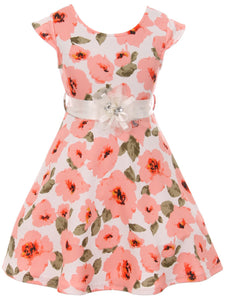 Big Girl Girls Dress Floral Graduation Summer Birthday Flower Girl Dress USA Peach 8 JKS 2126