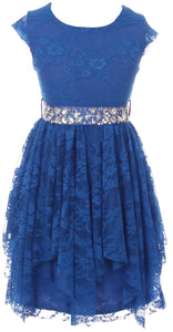 Big Girl Short Sleeve Floral Lace Ruffles Holiday Party Flower Girl Dress Royal 8 JKS 2095