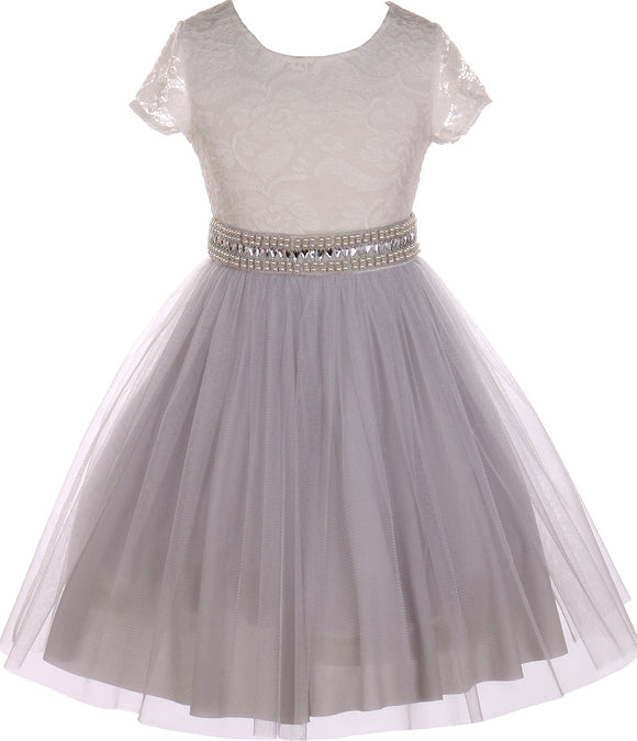 Flower Girl Dress Shiny Mesh Skirt with Pearl & Rhinestone for Little Girl Silver 8 JKS.2045