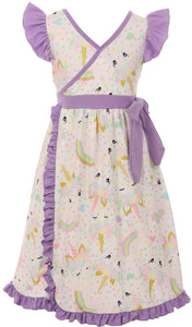 Ruffles Unicorn Special Occasion Dress for Little Girl Lilac 201421