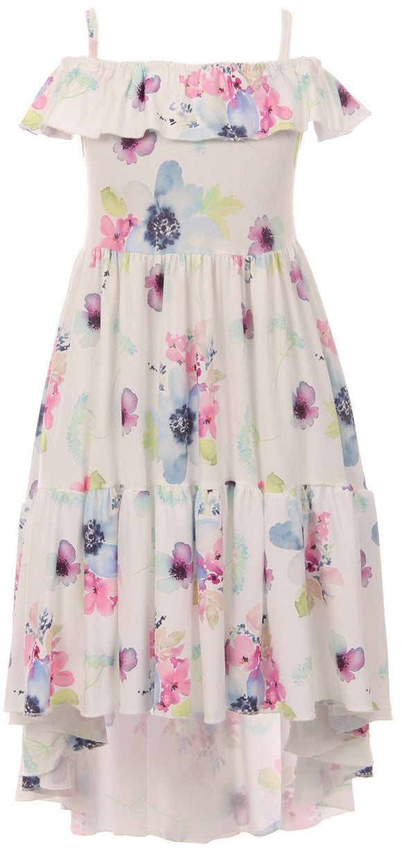 Off Shoulder Flower Print Hi-Low Dress for Little Girl Multi 201530