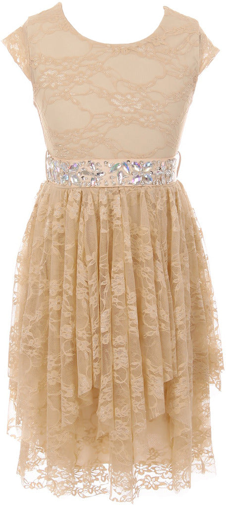 Big Girl Short Sleeve Floral Lace Ruffles Holiday Party Flower Girl Dress Champagne 8 JKS 2095