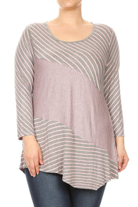 Women Plus Size Striped Style 3/4 Sleeve Keyhole Back Top Tee Blouse Grey Pink SE16009-4