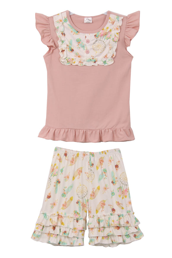 Cap Ruffle Sleeve Top Shorts Set for Little Girl Blush 318123
