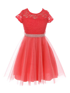 Big Girl Cap Sleeve Lace Tulle Pearl Belt Pageant Party Flower Girl Dress USA Coral 8 JKS 2122
