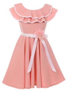 Big Girl Sleeveless Ruffle Shoulder Graduation Wedding Flower Girl Dress USA Blush 8 JKS 2128