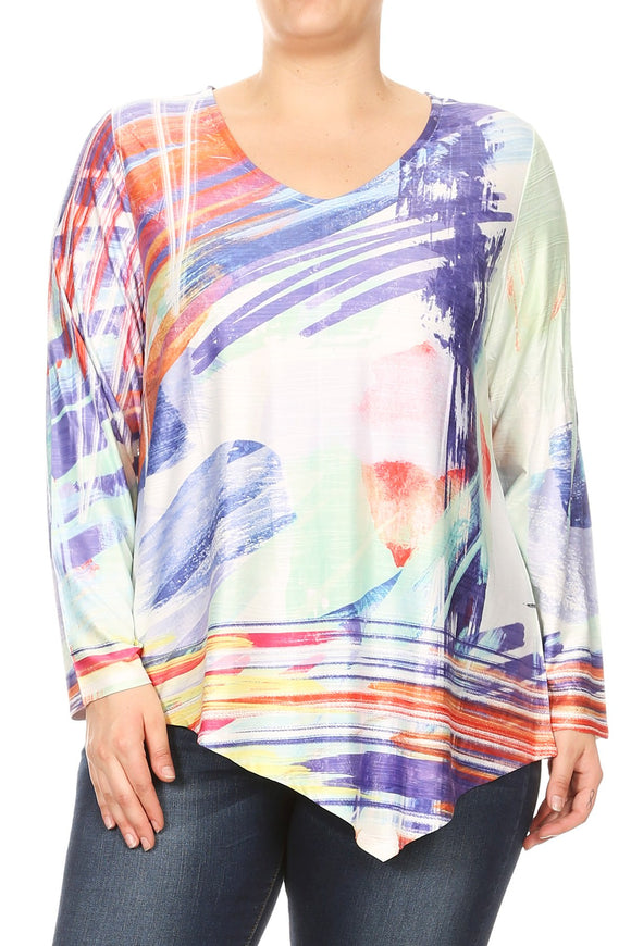 Women Plus Size Long Sleeve Abstract Leopard Tunic Top Tee Blouse Blue SE17025-2