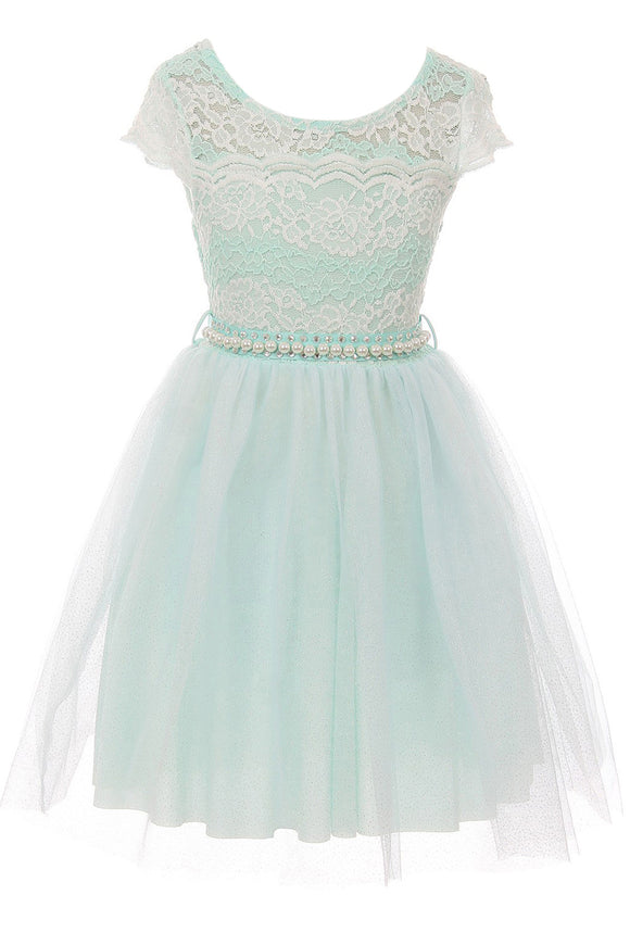 Big Girl Cap Sleeve Lace Pearl Tulle Graduation Wedding Flower Girl Dress USA Mint 8 JKS 2133P