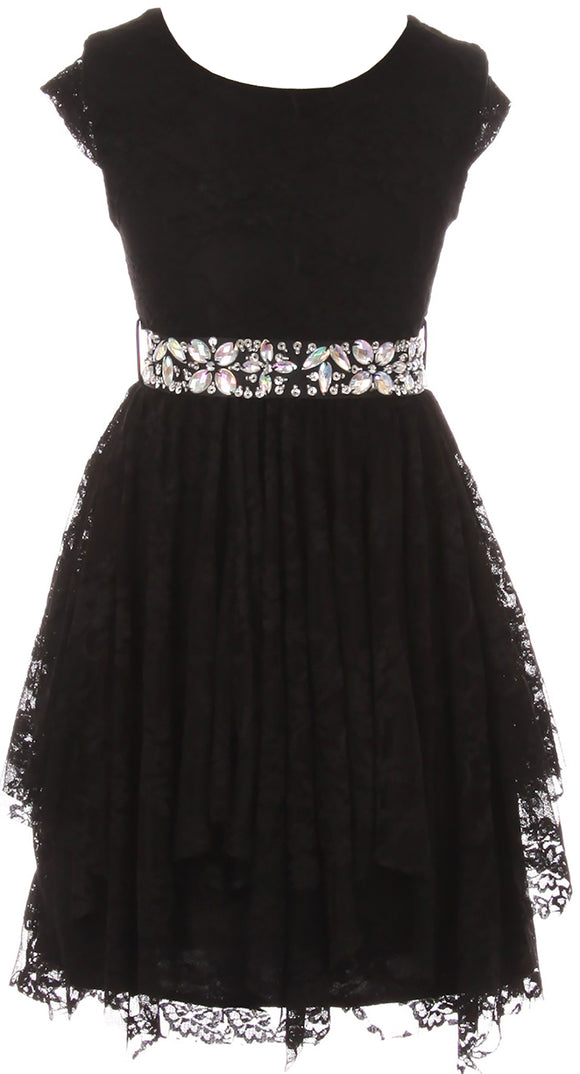 Big Girl Short Sleeve Floral Lace Ruffles Holiday Party Flower Girl Dress Black 8 JKS 2095