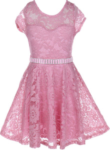 Flower Girl Dress Cap Sleeve Jewel Belt Floral Lace All Over for Big Girl Rose 8 JK19.88S