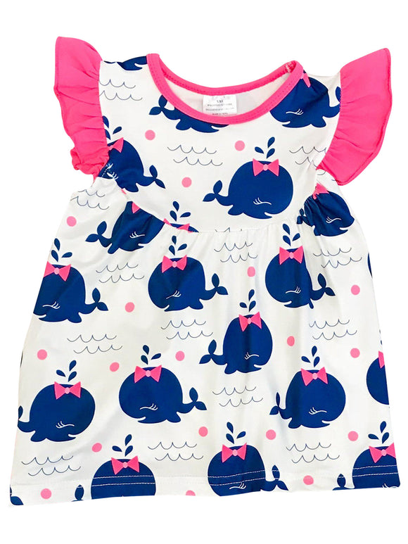 Whale Ribbon Print Casual Dress for Little Girl Off White 201440