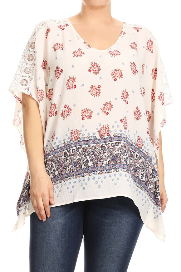 Women Plus Size Floral Design with Paisley Embellishment Top Tee Blouse Ivory SE17007