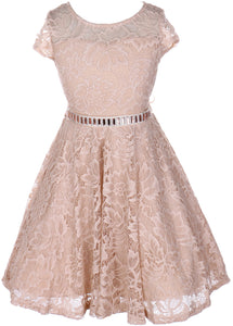 Flower Girl Dress Cap Sleeve Jewel Belt Floral Lace All Over for Big Girl Champagne 14 JK19.88S