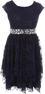 Big Girl Short Sleeve Floral Lace Ruffles Holiday Party Flower Girl Dress Navy 8 JKS 2095
