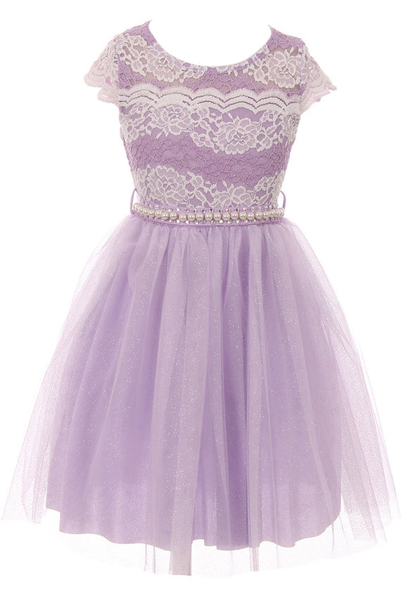 Big Girl Cap Sleeve Lace Pearl Tulle Graduation Wedding Flower Girl Dress USA Lilac 8 JKS 2133P