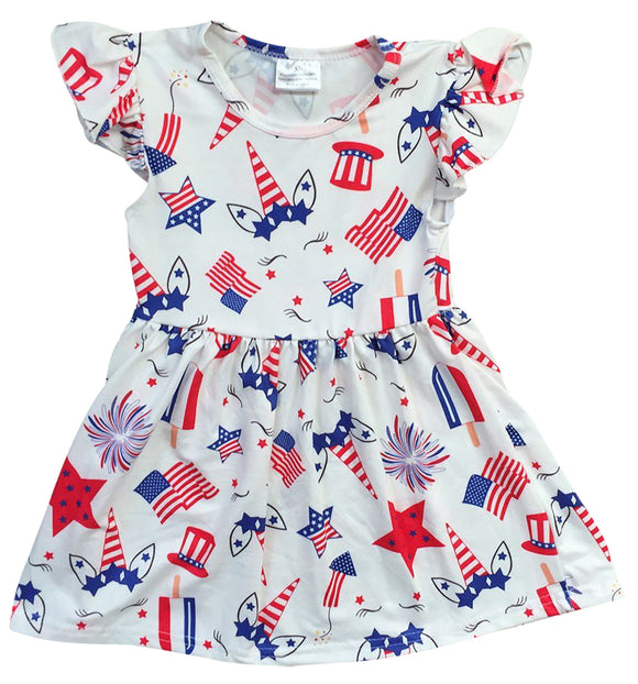 Unicorn Print Special Occasion Dress for Little Girl Off White 501361