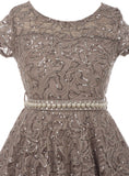 Big Girl Cap Sleeve Floral Lace Glitter Pearl Holiday Party Flower Girl Dress Silver JKS 2102
