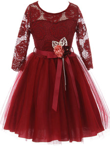Big Girl Floral Lace Top Tulle Flower Holiday Party Flower Girl Dress USA Burgundy 8 JKS 2098