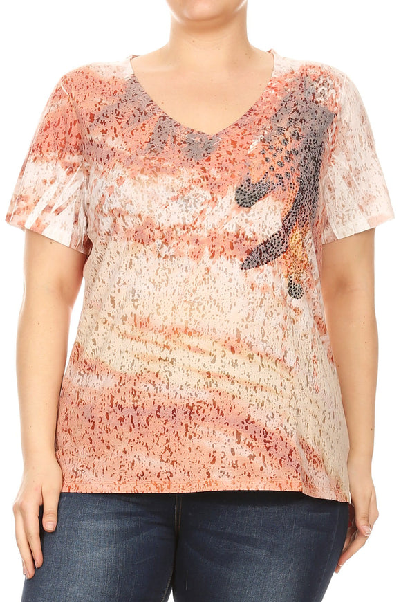 Women Plus Size V Neck Rhinestone Design Short Sleeve Top Tee Blouse Orange SE16045-1