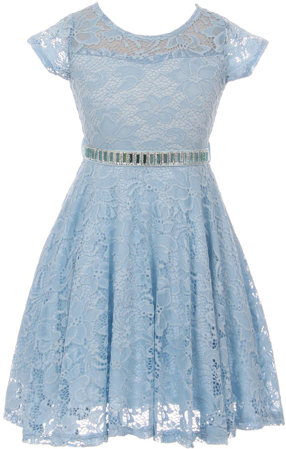 Flower Girl Dress Cap Sleeve Jewel Belt Floral Lace All Over for Big Girl Blue 8 JK19.88S