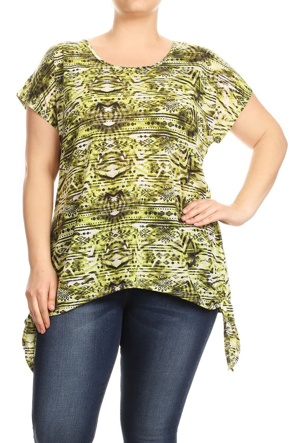 Women Plus Size Tied Bottom Hem Tribal Print Fashion Tunic Top Tee Blouse Red SE17038