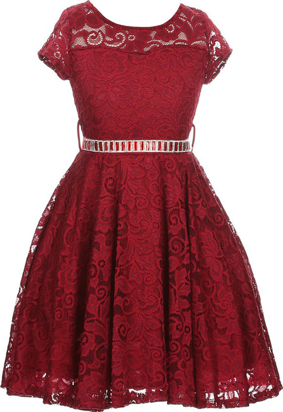 Flower Girl Dress Cap Sleeve Jewel Belt Floral Lace All Over for Big Girl Burgundy 8 JK19.88S