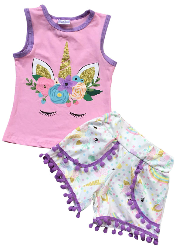 Unicorn Print Tank Top Cami Shorts Set for Big Girl Pink 201398
