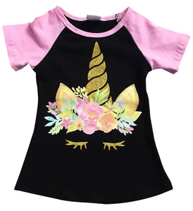 Unicorn Print Black Tee T-Shirt Top for Big Girl Pink 201508