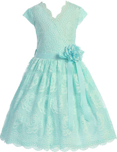 Flower Girl Dress Curly V-Neck Rose Embroidery AllOver for Little Girl Mint 8 JKS.2066