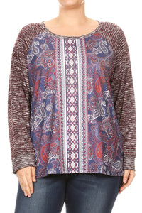 Women Plus Size Paisley Knit Top Contrast Top & Long Sleeve Top Tee Blouse Burgundy SE16046