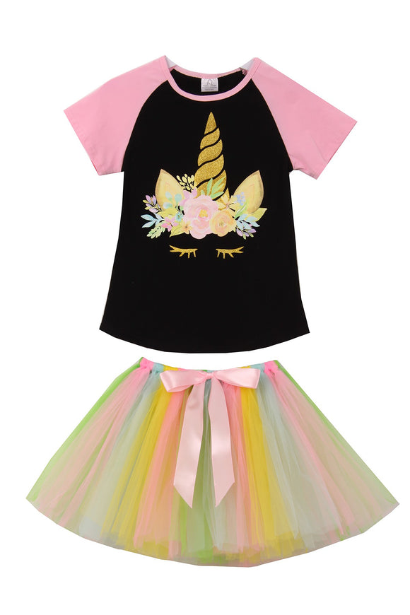 Unicorn Print Black Tee T-Shirt Top Tutu for Big Girl Pink Tutu 201507