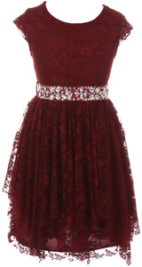 Big Girl Short Sleeve Floral Lace Ruffles Holiday Party Flower Girl Dress Burgundy 8 JKS 2095