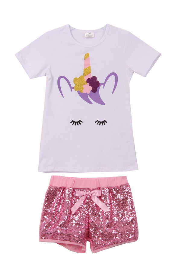 Unicorn Tee Sequin Shorts Set for Big Girl White 201491
