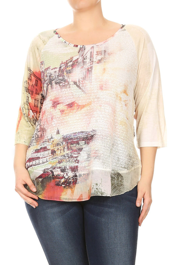 Women Venice Cityscape Print Plus Size T Shirts Tops Tee Blouse Multi SE17018
