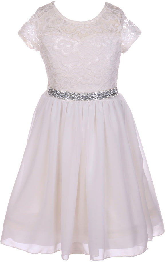 Flower Girl Dress Lace Cap Sleeve Top Chiffon Tea Length for Big Girl Off White 8 JK20.53S