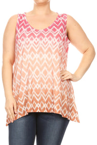 Women Plus Size Sleeveless Lace Back Tank Top Tee Orange SE17002