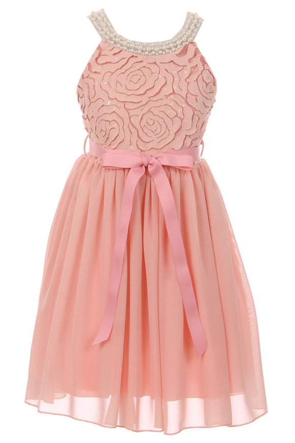 Big Girl Sleeveless Pearl Sequin Chiffon Graduation Wedding Flower Girl Dress USA Blush 8 JKS 2121