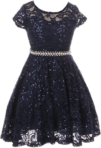 Big Girl Cap Sleeve Floral Lace Glitter Pearl Holiday Party Flower Girl Dress Navy 8 JKS 2102