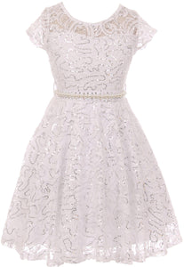 Big Girl Cap Sleeve Floral Lace Glitter Pearl Holiday Party Flower Girl Dress White 8 JKS 2102