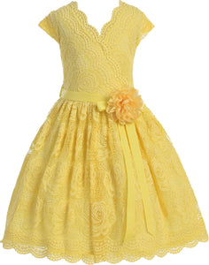 Flower Girl Dress Curly V-Neck Rose Embroidery AllOver for Little Girl Yellow 8 JKS.2066