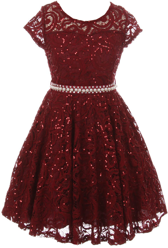 Big Girl Cap Sleeve Floral Lace Glitter Pearl Holiday Party Flower Girl Dress Burgundy 8 JKS 2102
