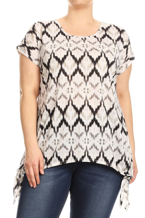 Women Plus Size Tied Bottom Hem Tribal Print Fashion Tunic Top Tee Blouse Black SE17038