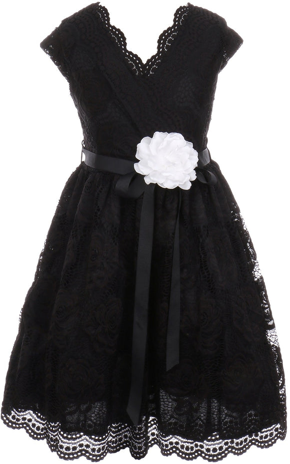 Flower Girl Dress Curly V-Neck Rose Embroidery AllOver for Little Girl Black 8 JKS.2066