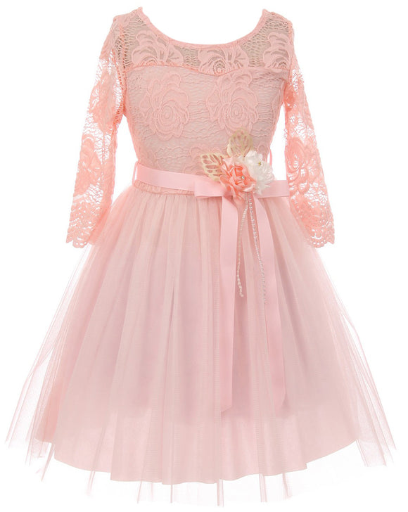 Big Girl Floral Lace Top Tulle Flower Holiday Party Flower Girl Dress USA Pink 8 JKS 2098