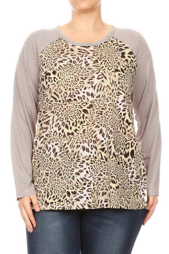 Women Plus Size Leopard Print Top with Striped Sleeves Top Tee Blouse Leopard SE16018-2