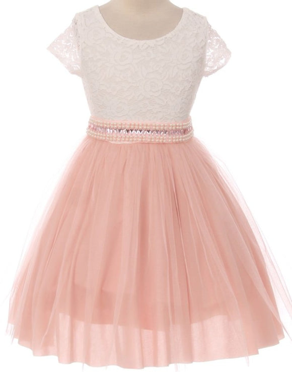 Flower Girl Dress Shiny Mesh Skirt with Pearl & Rhinestone for Little Girl Blush 8 JKS.2045