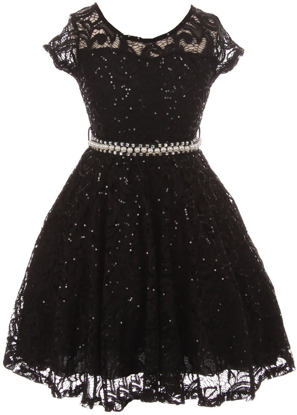 Big Girl Cap Sleeve Floral Lace Glitter Pearl Holiday Party Flower Girl Dress Black 8 JKS 2102