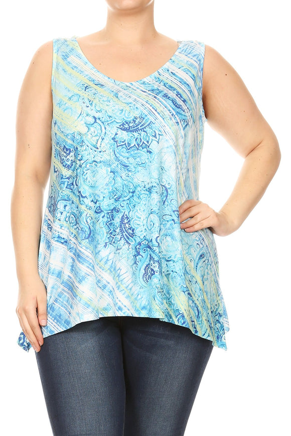 Women Plus Size Sleeveless Lace Back Tank Top Tee Blue SE17002