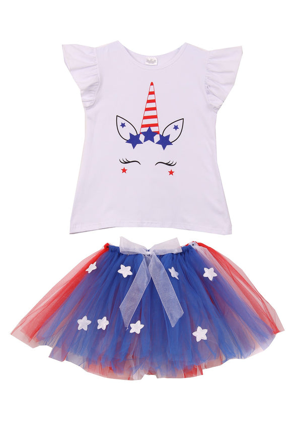 Unicorn Print Tee T-Shirt Top for Big Girl Royal 501413
